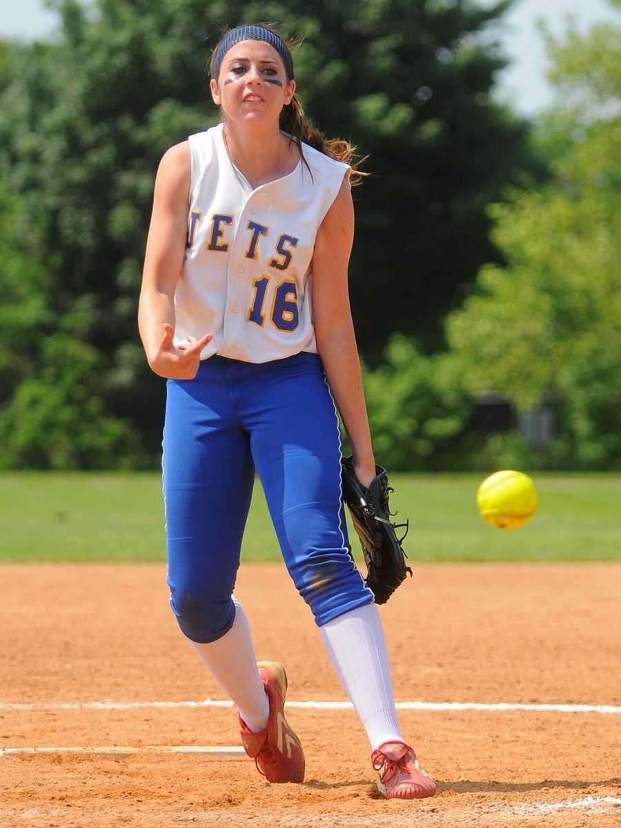 East Meadow starting pitcher #16 Kerri Shapiro delivers