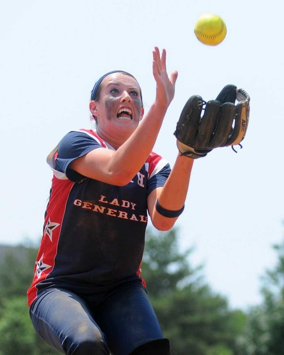 MacArthur pitcher #2 Kristen Brown catches a pop