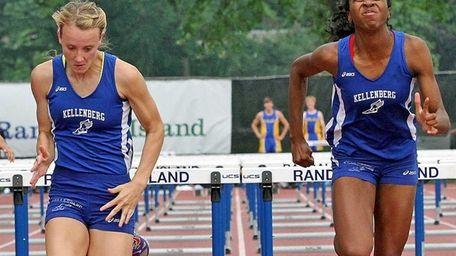 Kellenberg teammates Katie Cavanaugh, left, and Odrine Belot