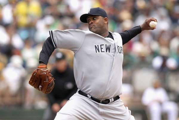 CC Sabathia pitches against the Oakland Athletics. (May