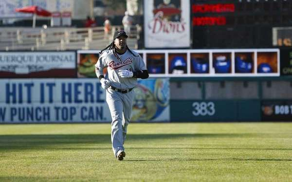 Manny Ramirez, playing for the Sacramento RiverCats, runs