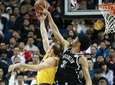 Jarrett Allen of the Nets handles the ball