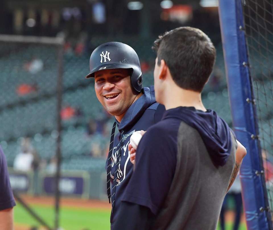 New York Yankees catcher Gary Sanchez (24) before