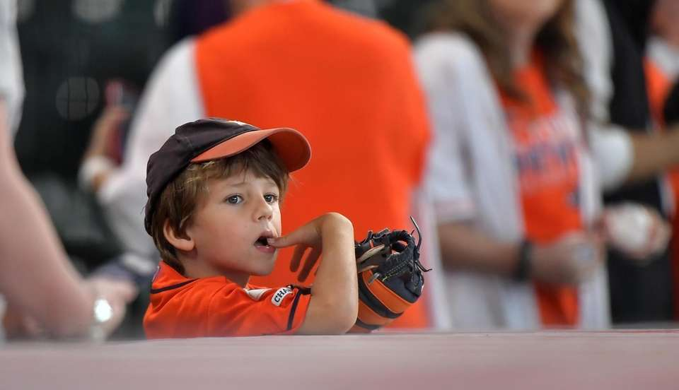 This young Houston Astros fan is watching the