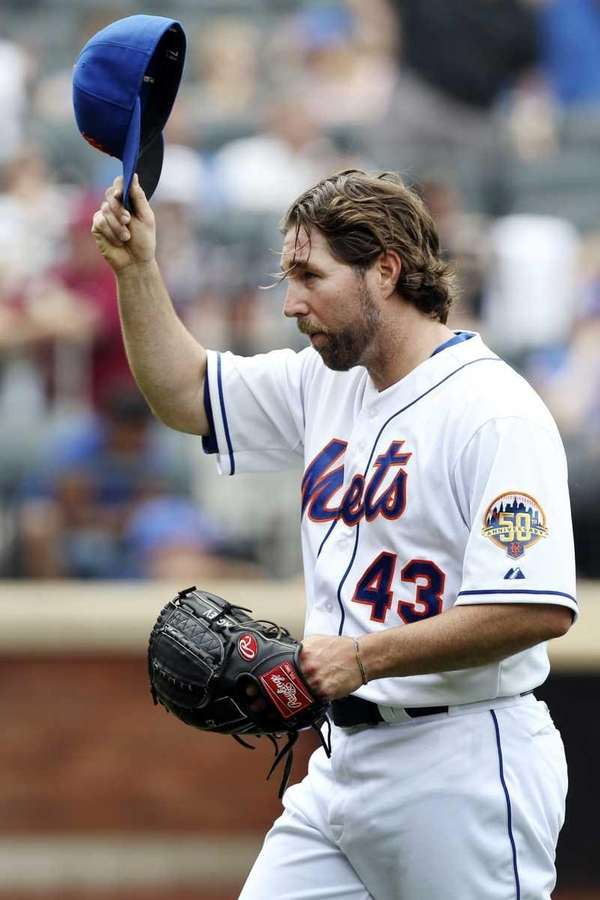 New York Mets starting pitcher R.A. Dickey acknowledges