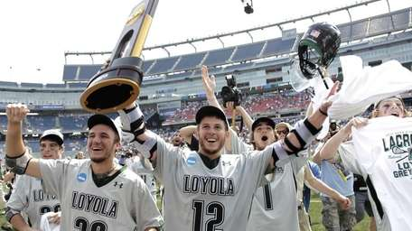Eric Lusby, #12, of the Loyola Greyhounds, the