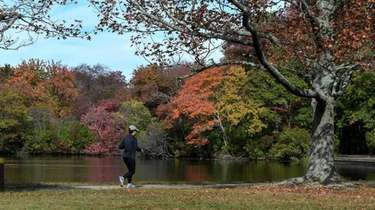 A woman jogs along the path at Belmont