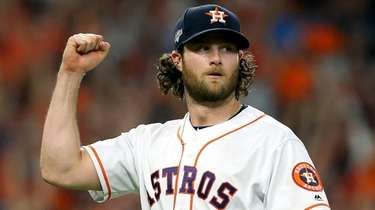 Gerrit Cole of the Astros reacts after retiring
