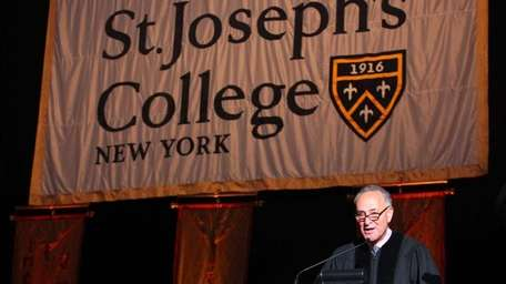 New York State Senator Charles Schumer speaks to