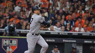 Giancarlo Stanton homered in the sixth inning of