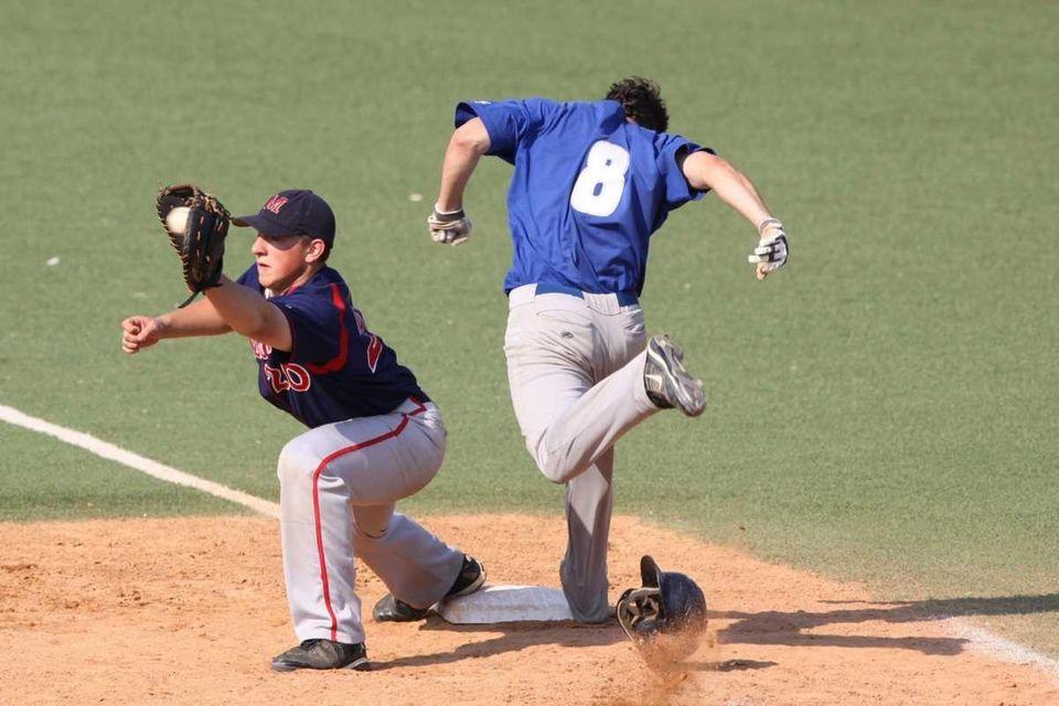 Calhoun's Thomas Viverito, right, beats the throw to