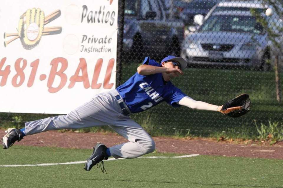 Calhoun's Tommy Murphy makes a diving catch of