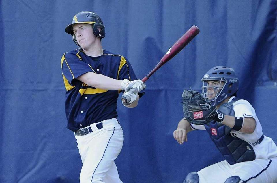 Shoreham-Wading River's Mike O'Reilly watches his double, which