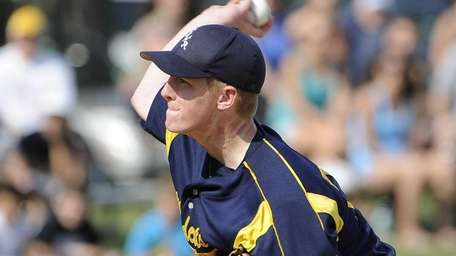 Shoreham-Wading River starting pitcher Mike O'Reilly delivers in