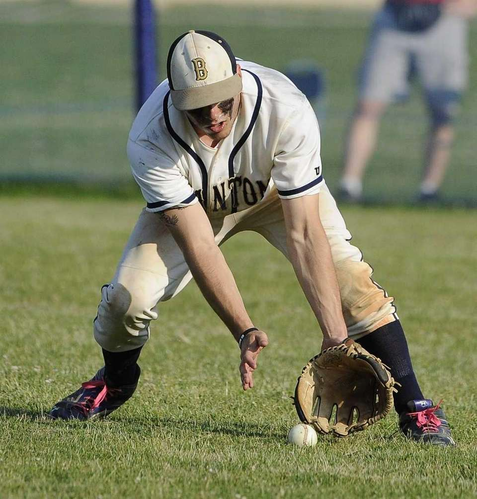 Bayport-Blue Point's Ryan Dollop fields the ball against