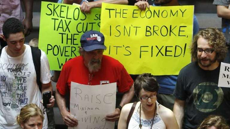 Occupy Albany protesters rally for a raise in