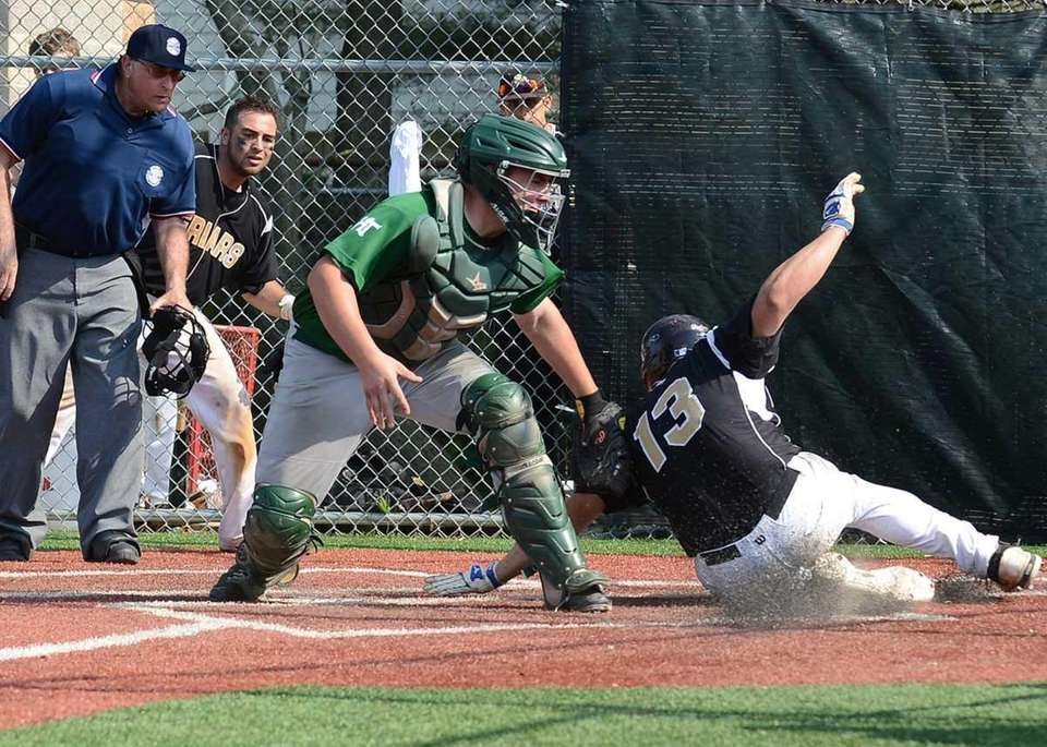 Holy Trinity's Christopher Hardardt makes the tag on