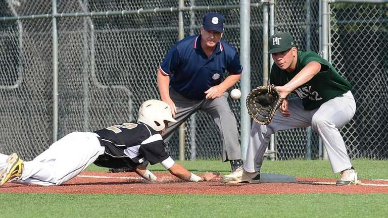 St. Anthony's Matt Costleigh gets back to first