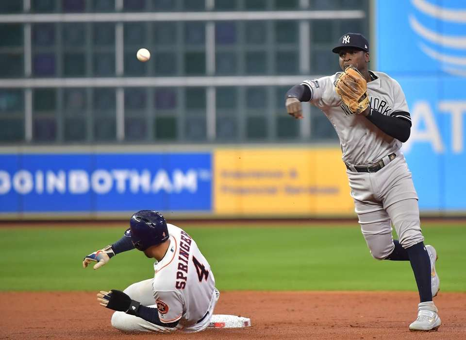 Houston Astros center fielder George Springer is out