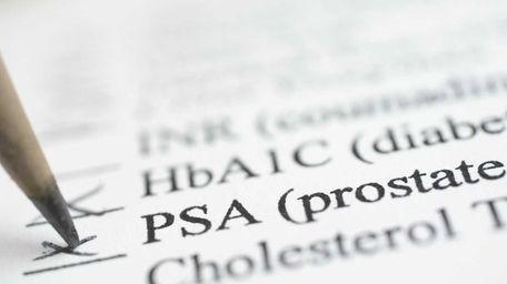 Physical checklist shows the prostate-specific antigen test.