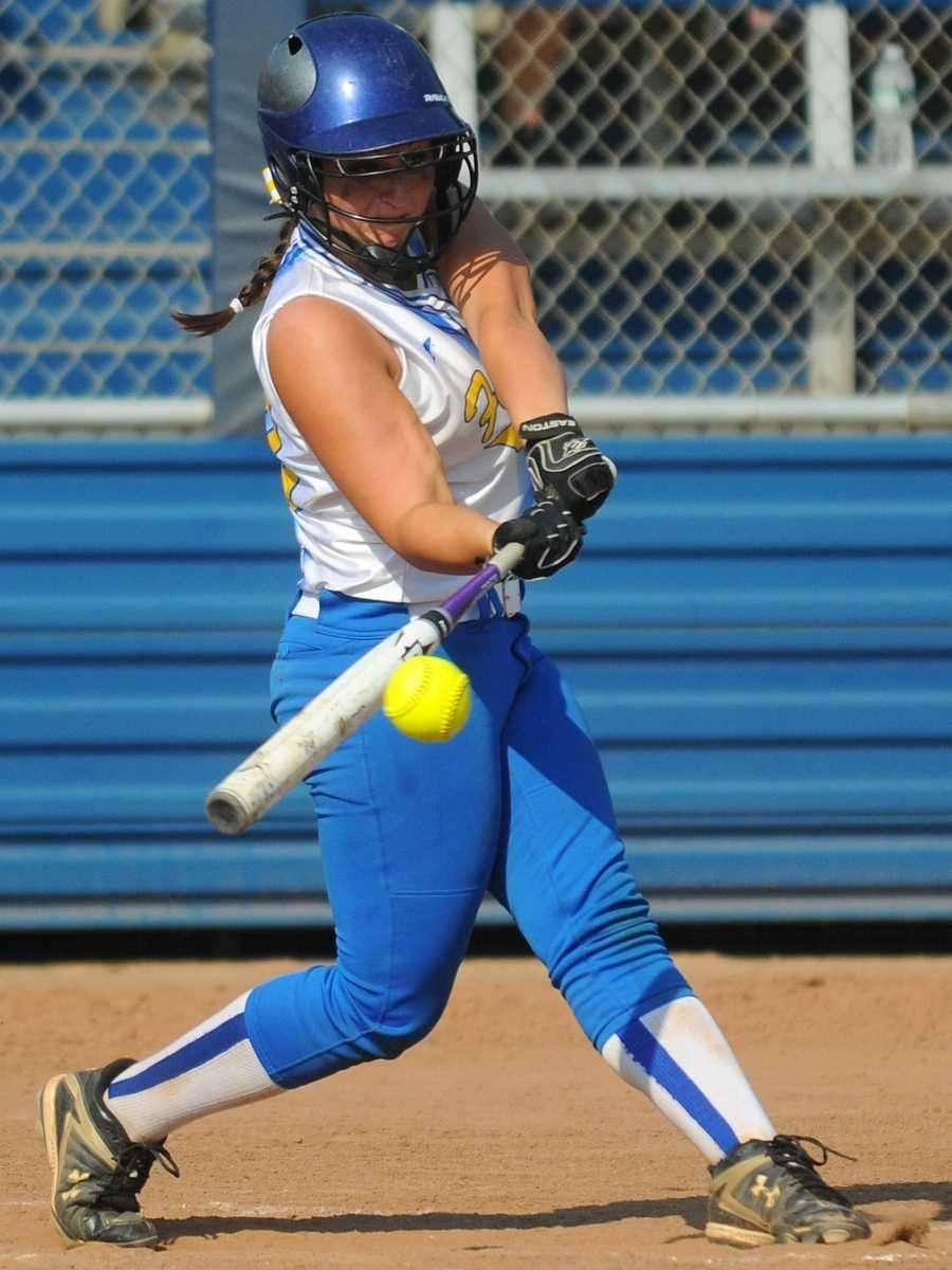 Kellenberg's Alexandra Pisciotta hits an RBI single to