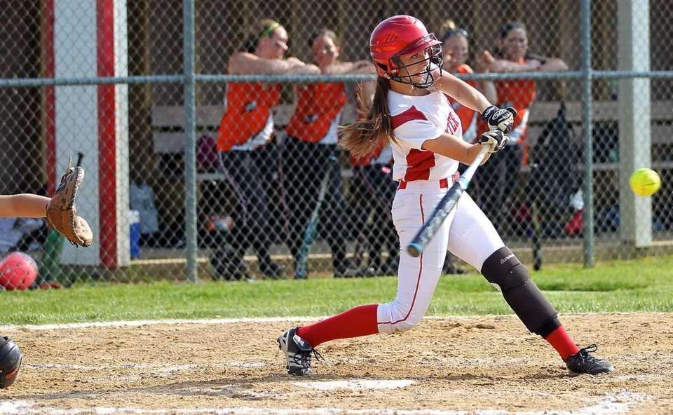 Center Moriches' Cierra Smith #2 sends a hit