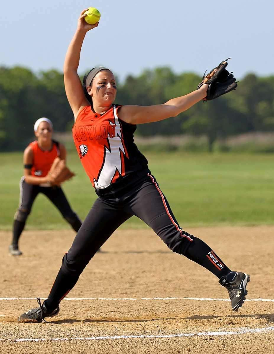 Babylon starting pitcher Tiana Guiliano #5 delivers against