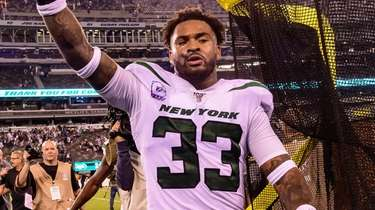 Jets strong safety Jamal Adams celebrates after defeating