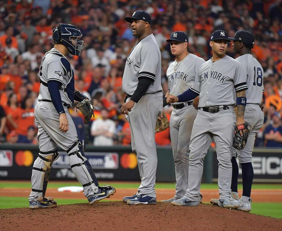Yankees starting pitcher CC Sabathia is taken out