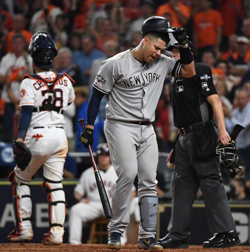 New York Yankees catcher Gary Sanchez (24) reacts