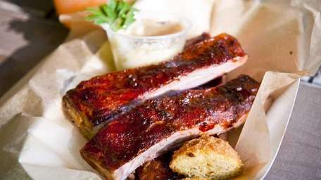 The Kansas City sweet and sticky ribs served
