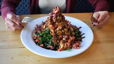 Chicken bruschetta is served at Library Cafe in