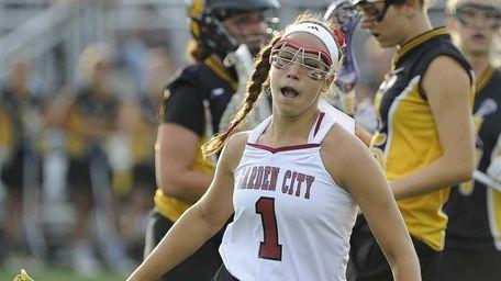 Garden City's Alexandra Bruno reacts after scoring the
