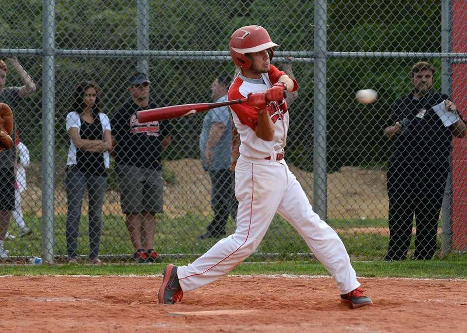 Connetquot's Anthony Schuler (7) connects for a double