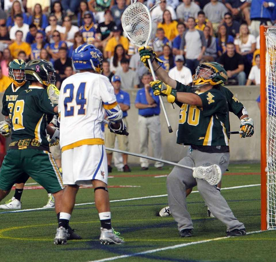 West Islip's Anthony DeLuca has his point blank