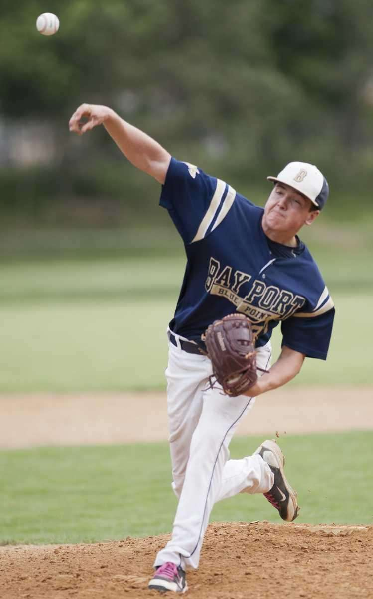 Bayport-Blue Point starting pitcher Mike Farley delivers to