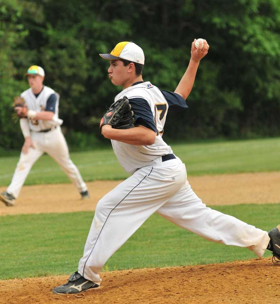 Shoreham-Wading River's starting pitcher Dan DeVito (17) delivers