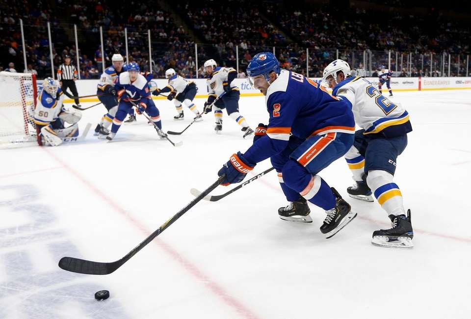 Nick Leddy of the New York Islanders controls