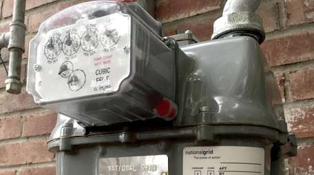 A National Grid commercial gas meter in Riverhead.