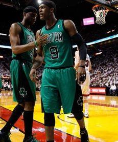 Rajon Rondo #9 of the Boston Celtics reacts