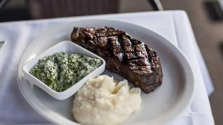 The dry-aged New York sirloin, served with creamed