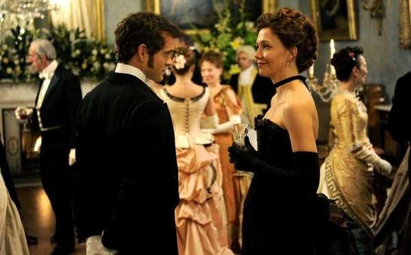 "Hugh Dancy and Maggie Gyllenhaal in ""Hysteria."""