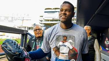 Yankees starting pitcher Luis Severino walks through the