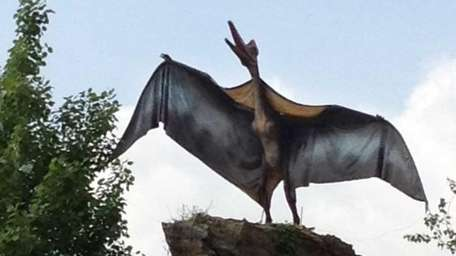 A pterodactyl perches on a boulder at the