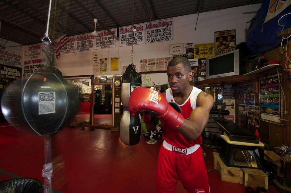 US Olympic boxer Jamel Herring, of Coram, hits