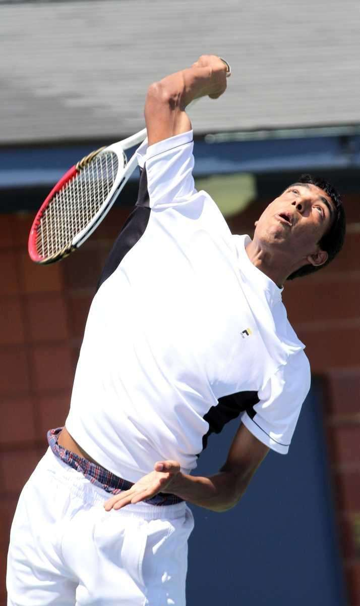 Herrick's Vihar Shah serves during his upset win