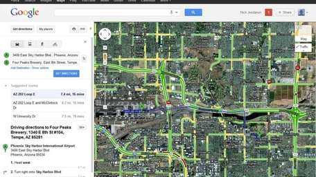 This screenshot shows driving directions from Phoenix's airport