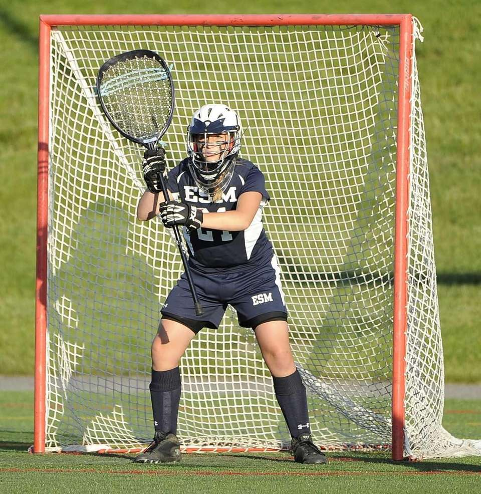 Eastport-South Manor goalkeeper Sam Giacolone defends her goal
