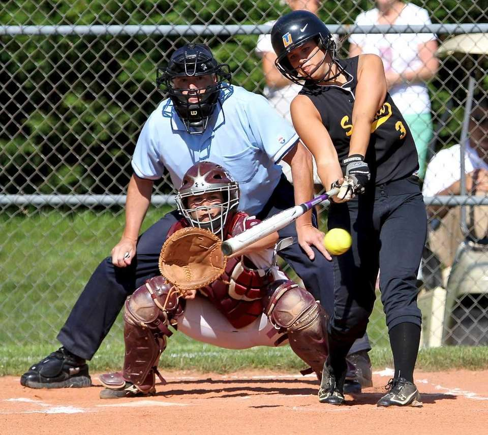 Sayville's Merissa Selts swings at a pitch during