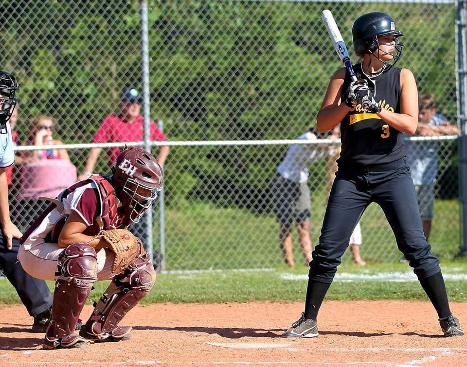 Sayville's starting pitcher Merissa Selts steps to the